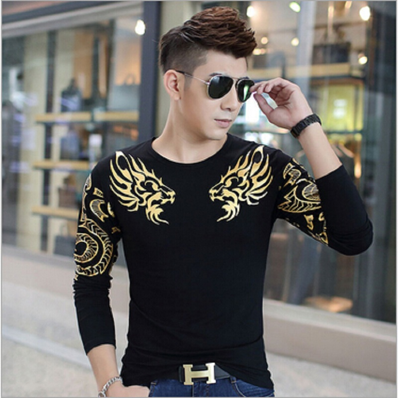 Autumn and winter's type - Korean bronzing printing autumn on clothes Mens Long Sleeve T-shirt shirt male tide