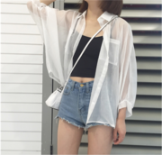 In the New South Korean Air BF all-match Harajuku loose chiffon shirt cardigan Lapel single breasted coat female sunscreen