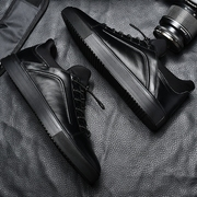 Europe shoes casual shoes black leather shoes men fall all-match black men's shoes casual shoes.