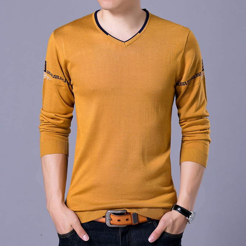 Autumn color long sleeved SWEATER MENS leisure solid new simple t-shirt men sweater shirt