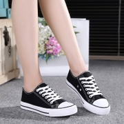 The summer low canvas shoes to help female students with flat bottom shoes black shoes casual shoes white white shoes