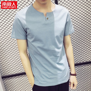 2 pieces of summer men's body training V collar short sleeved t-shirt men's clothing on the Korean version of the cotton half sleeve shirt