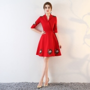A bride 2017 in spring autumn and winter clothing female wedding dress new red dress clothes back to pregnant women