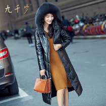 9000 leather women long bi-fold wallets thicken Justine fox fur collar down Jacket Hoodie down comforters Sheepskin leather