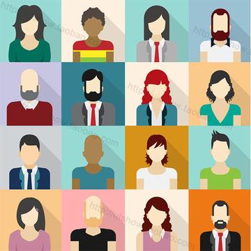 可爱q版卡通扁平化ui男女商务人物头像办公职场矢量图片背景素材图片