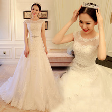 Wedding rental wedding dress new Korean shoulder lace A swing tail bride wedding