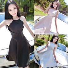Club sexy sleeveless dress Korean halter neck waist slim dress model making