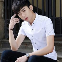 夏季短袖衬衫男装韩版修身潮流帅气格子衬衣青少年休闲半袖白寸衣