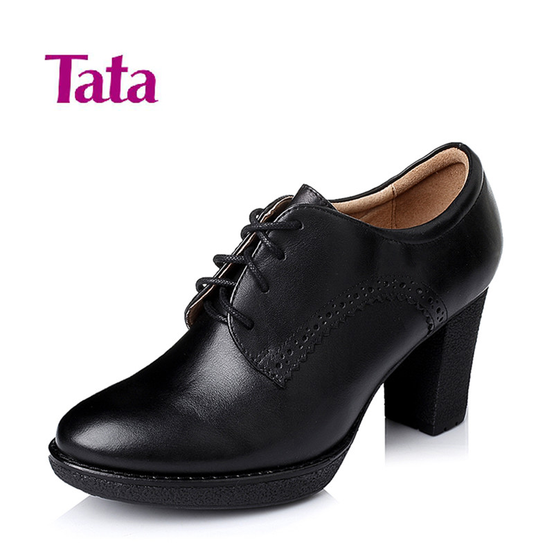 2015 New Tata/his coarse high her genuine counters women's shoes with lace casual leather shoes women 2WX31
