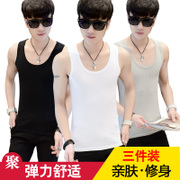 In summer men's Vest male youth white stretch tight, slim type fitness movements T-shirt bottoming