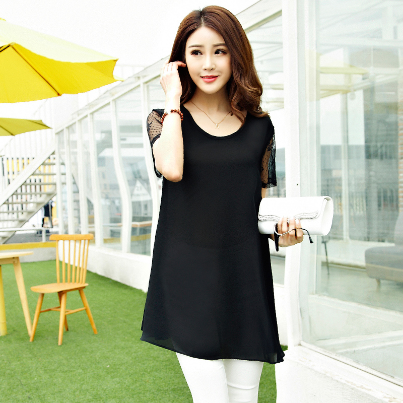 Large size women fat mm short sleeved summer T-shirt 200 pounds of fat sister loose chiffon blouse short shirt tide