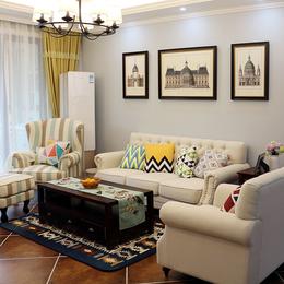 美式布艺沙发 地中海田园风格小户型客厅整装三人位拉扣1+2+3组合