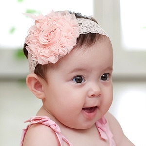 Super adorable baby Lace Rose Gold Pink Flower Hair Band Princess infant hair hair hair with 13g