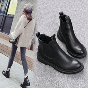 2017 a new autumn and winter boots female Chelsea female leather boots boots boots single bare flat with Martin boots shoes
