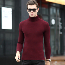 Men's winter turtleneck pullovers knitwear thickened elastic solid black shirt slim.