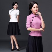 Female summer Tang suit jacket sleeve cotton short sleeved in Chinese students' daily improved cheongsam autumn jacket