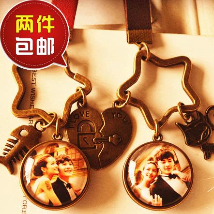 创意情侣钥匙扣圈双面挂件 定制照片名字 男女友闺蜜生日结婚礼物