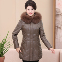 Rui Furen leather jacket in the middle and old aged womens Hooded slim jacket Sheepskin long mother dress plus size winter