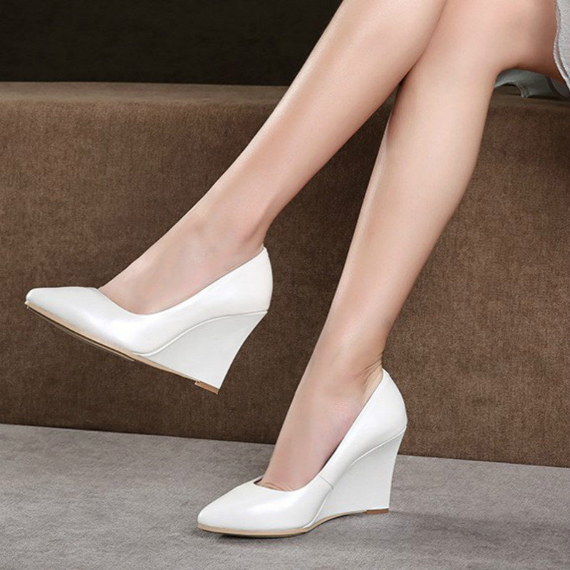 Camille 2017 autumn new female shoes lady's slope with sexy high white leather professional sexy shoes girl