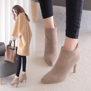 2017 new boots female high-heeled shoes and boots with a fine tip single boot boot Martin matte leather boots
