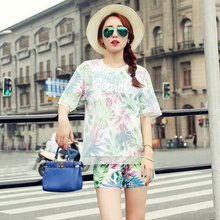2017 summer new Korean large size women in spring and summer, short sleeved shirt shorts suit fashion 7015