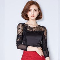 2016 new neck sexy Black Lace stitching perspective hollow play double gauze shirt women long sleeves at the end of thin section