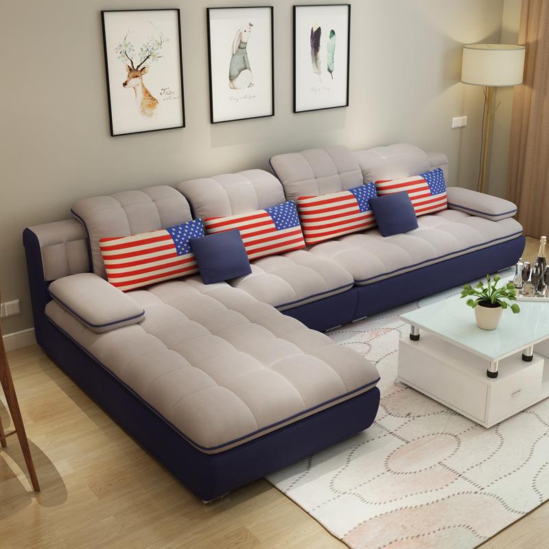 可拆洗简约布沙发转角现代大小户型客厅整装家具布艺沙发组合特价