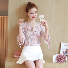 2017 autumn bow tie sleeve short sleeved in sweet seven small Floral Chiffon shirt dress shirt sleeve