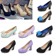 Genuine single shoes spike 13.8 yuan round head fashion women's shoes suede waterproof table shallow high heels