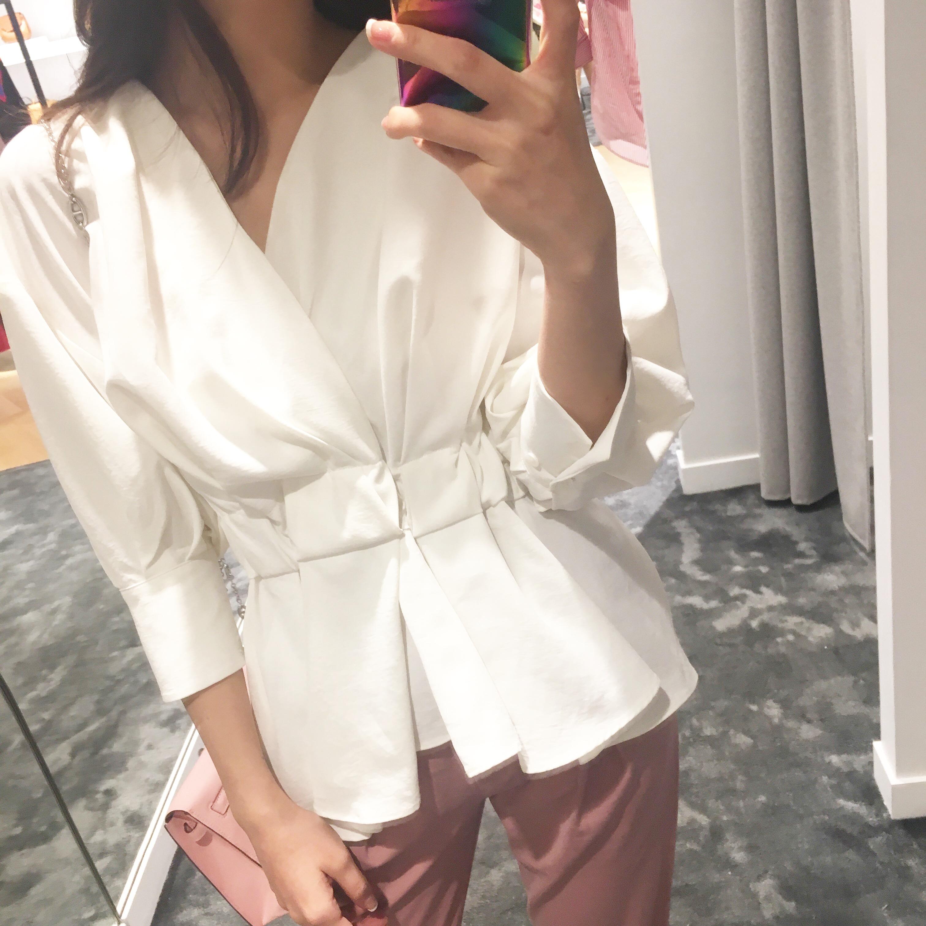 @ZY喜哥 气质通勤OL女装2017夏新款 收腰显瘦V领上衣七分袖t恤女