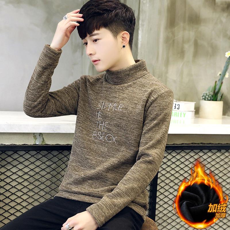 男士长袖t恤加绒加厚冬季韩版潮流秋衣保暖上衣服体恤高领打底衫