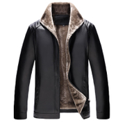 Winter middle-aged leather men plus cashmere thickened stand-up father warm jacket in the elderly pu leather jacket men