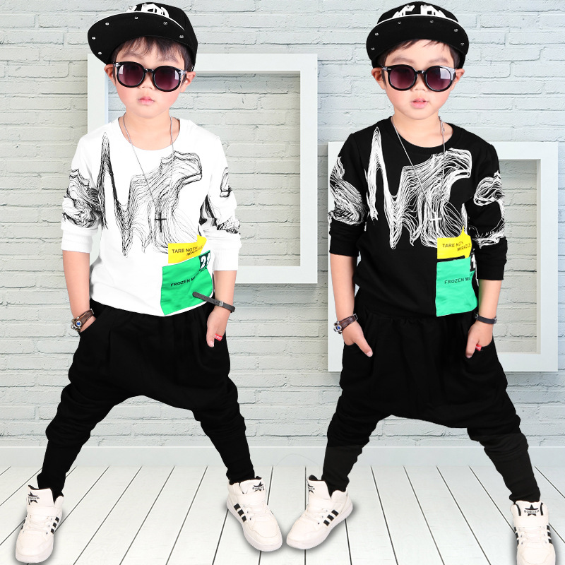 Hip-hop boy in spring and autumn goods leisure suit 2017 new cotton sweater Haren pants down on behalf of children