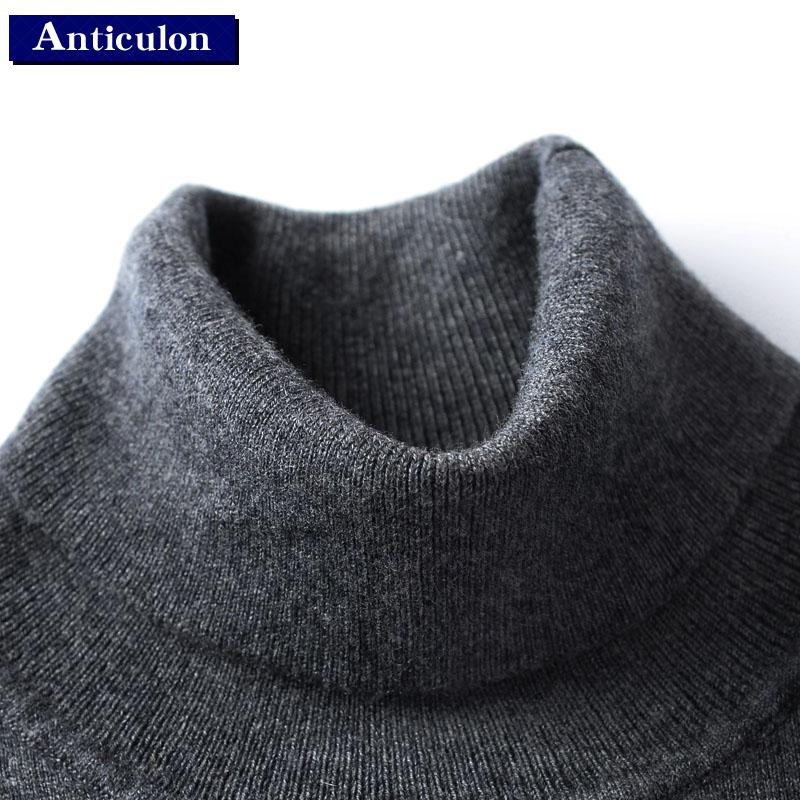 秋冬新款羊毛衫男高领加厚套头打底纯色针织衫青年黑色大码毛衣潮