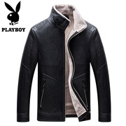Playboy leather men winter plus velvet thick fur one short youth casual leather jacket men coat