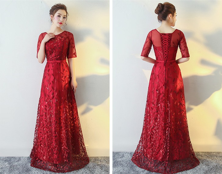 2017 new evening dress long wedding toast suit together to host a party dress is cultivate one's morality dress sleeves