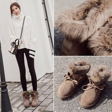 Rabbit ugg boots female winter 2017 new shoes and cashmere thermal short tube shoes boots all-match Korean Students