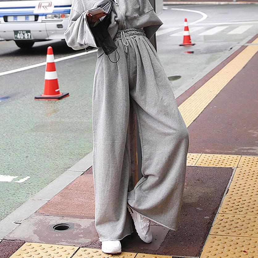 韩国代购 LAG酷个性十足高腰时尚毛圈棉阔腿显瘦潮流个性长裤女裤