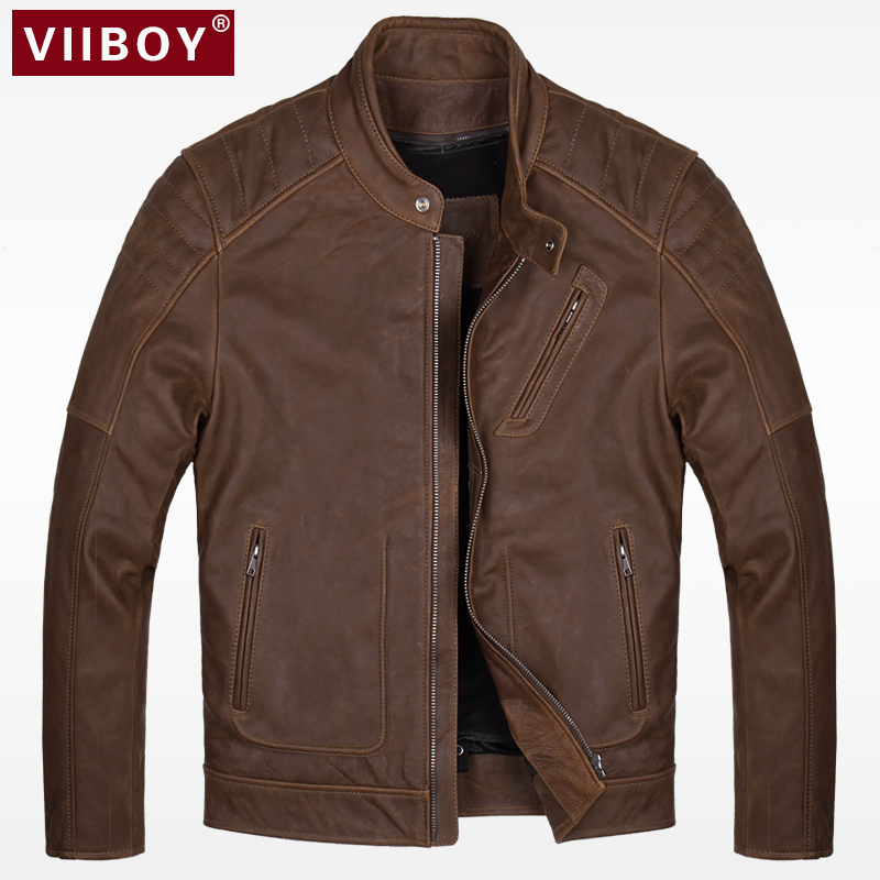 The first layer of leather leather leather leather jacket men Harley clothing short slim collar Retro Leather Jacket tide