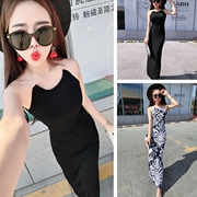 DB06A-83693 summer new Korean women's hem long slit waist dress female one generation