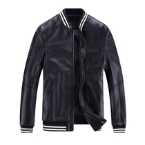 New spring collar Korean leather leather mens casual cropped slim leather baseball uniform locomotive coat