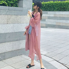chiffon sunscreen shirt lady long section cardigan 2018 new summer loose shirt outside sun protection clothing coat thin