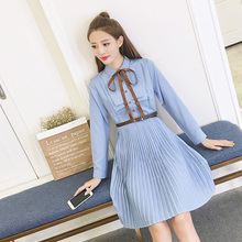 2017 in spring and autumn new female fashion ladies Pleated Chiffon dress shirt, long sleeved autumn wind