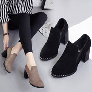 2017 new all-match Korean female shoes autumn winter British style thick with high heels shoes retro female head