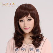 Long hair hair oblique bangs fluffy hair in the middle of the long hair repair middle-aged hair wig really realistic hair
