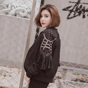 Female students and 2017 Korean baseball uniform jacket heavy Beaded Leather tassel cardigan Baseball Jacket tide
