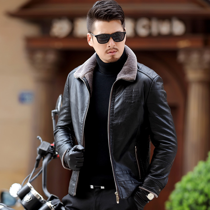 Winter authentic men's leather coat, men's casual leather leather jacket, short motorcycle suit thickening coat