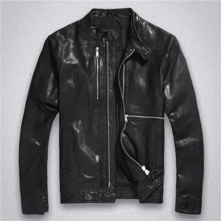 Retro men's leather clothing, British self-cultivation short youth motorcycle, autumn and winter thin leather jacket, jacket men's clothing