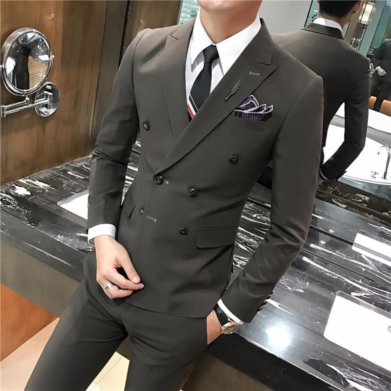 西服套装男士三件套帅气双排扣修身韩版小西装正装新郎伴郎结婚礼