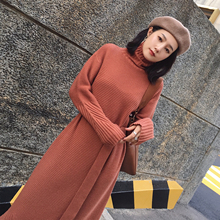 The ANNA - 2017 pit warm winter clothing new stripes sweater turtleneck belt length knit dress female